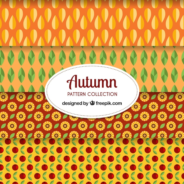 Decorative pack of flat autumn patterns