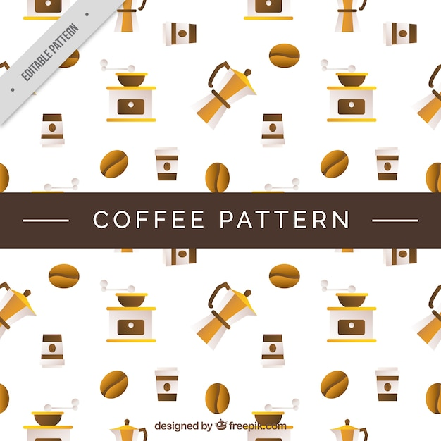 Decorative pattern of coffee elements in flat\ design