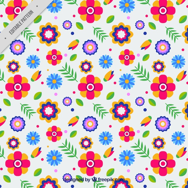 decorative pattern of flowers in flat design vector free