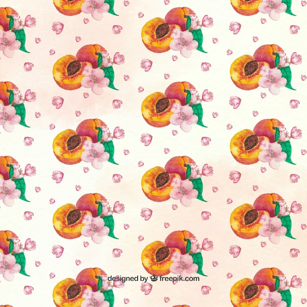 Decorative pattern of peaches and pink\ flowers