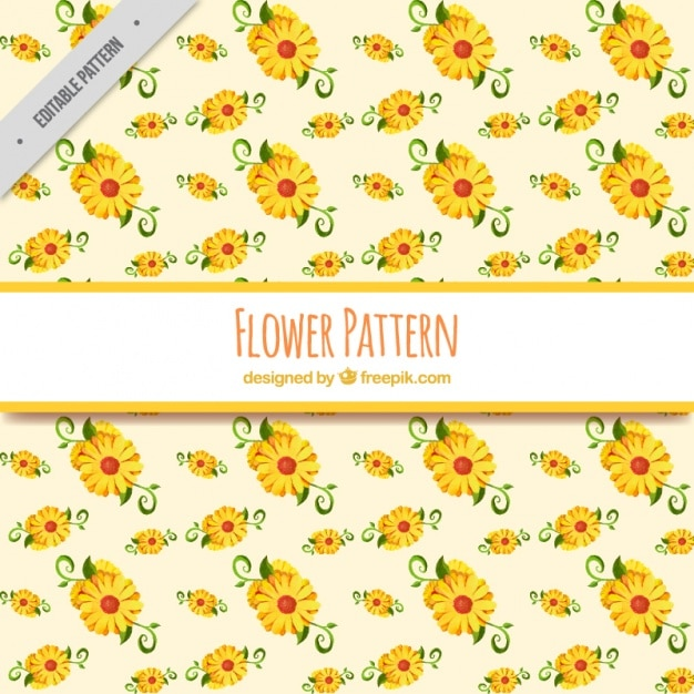 Decorative pattern of yellow flowers in\ watercolor style