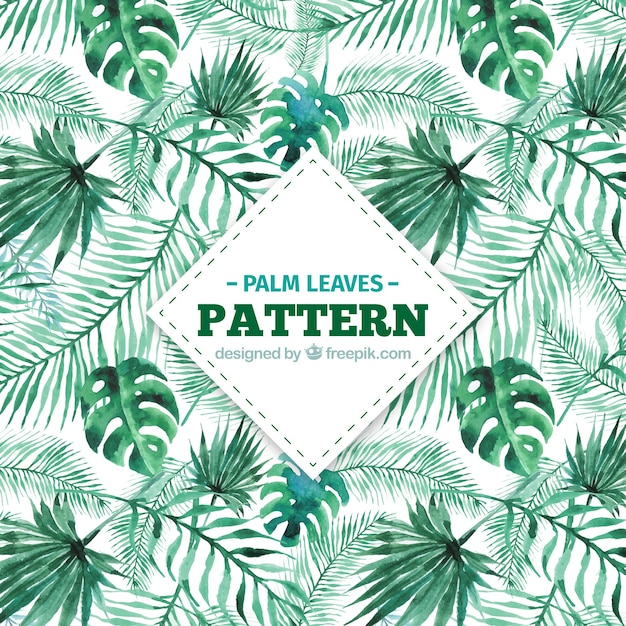 Decorative pattern of watercolor palm leaves Free Vector