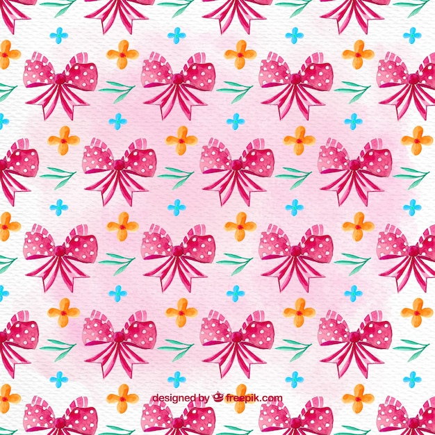 Decorative pattern with pink ribbons and flowers Free Vector