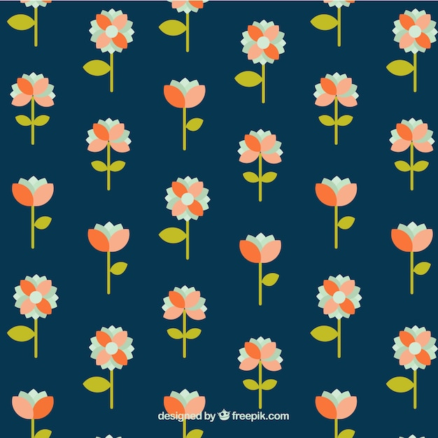 Decorative pattern with pretty flowers in flat style Free Vector