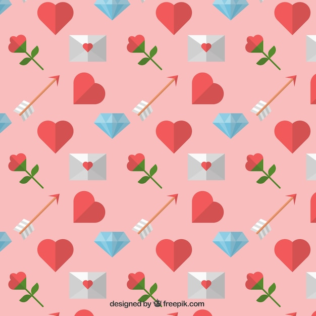 Decorative pattern with valentine elements Free Vector