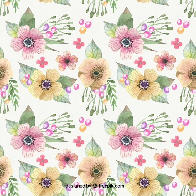 Decorative pattern with yellow and pink flowers\ in watercolor style