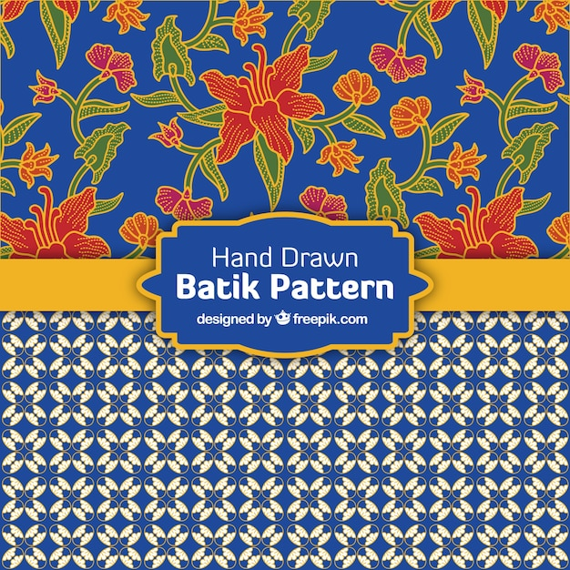 Decorative patterns in batik style Free Vector