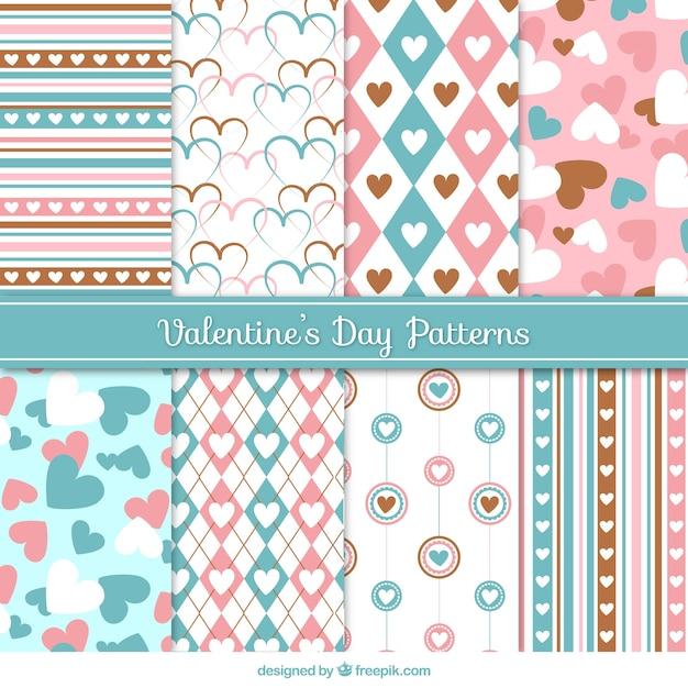 Decorative patterns in pastel colors for valentine's day Free Vector