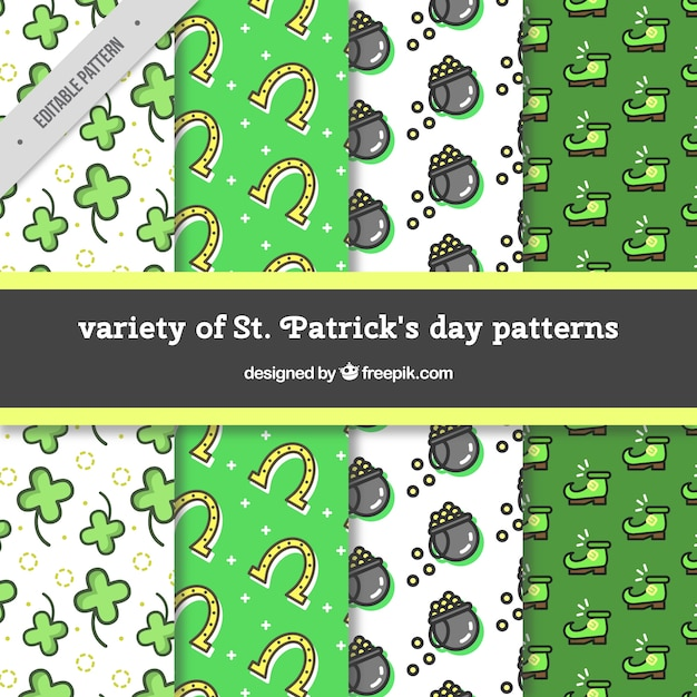 Decorative patterns of saint patrick elements collection