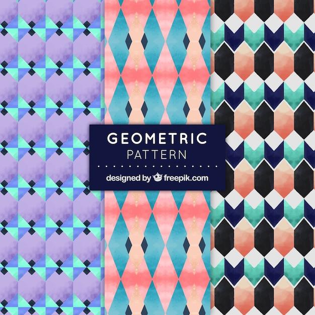 Decorative patterns set of watercolor geometric shapes