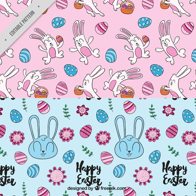 Decorative patterns with cute rabbits and eggs for easter day