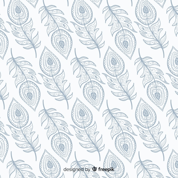 Decorative peacock feather pattern Free Vector