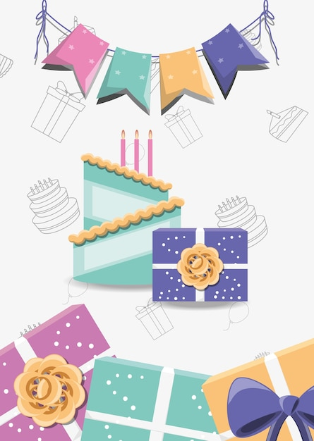 Decorative pennants with Birthday cake with candles and decorative ...