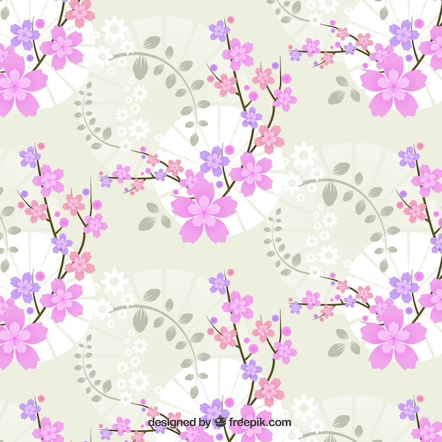 Decorative pink flowers background in vintage\ style