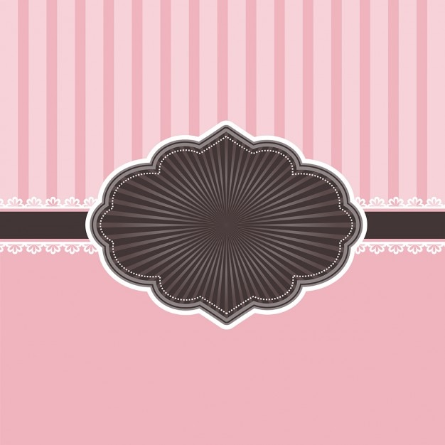 Decorative pink invitation with vintage badge