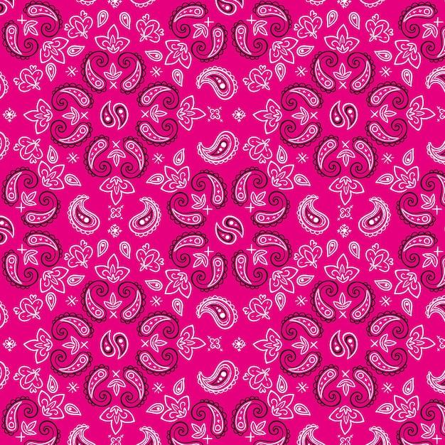 装飾的なピンクのペイズリーバンダナパターン 無料ベクター