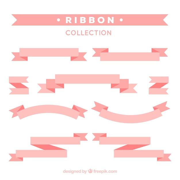 Decorative pink ribbons in flat design Free Vector
