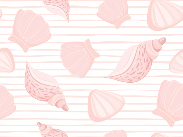 Decorative pink seashells stripe pattern Premium Vector
