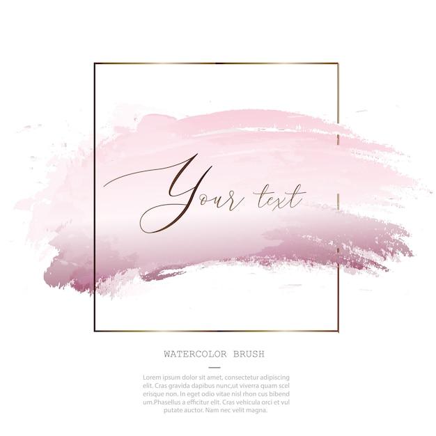装飾的なピンクの水彩スプラッシュブラシテンプレート Premiumベクター