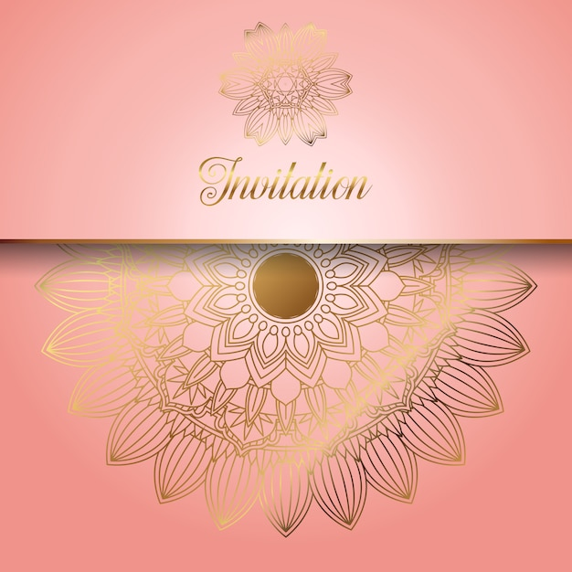 Decorative pink with gold ornaments invitation Free Vector