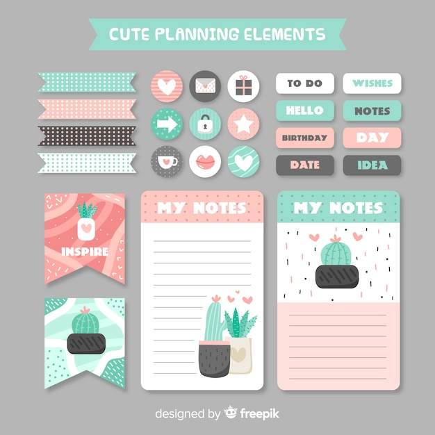 Decorative planning element collection Free Vector