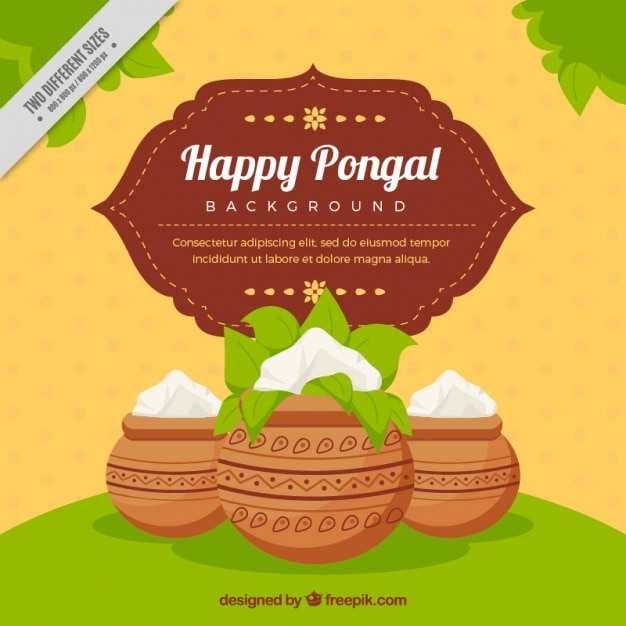 Decorative pongal background with pots Free Vector