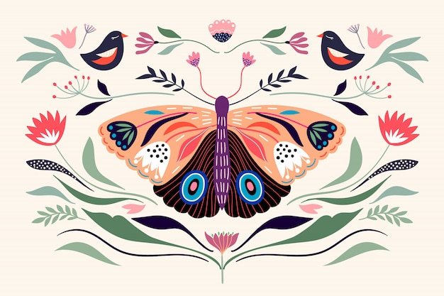 Decorative poster banner composition with floral elements, butterfly,different flowers and plants Premium Vector