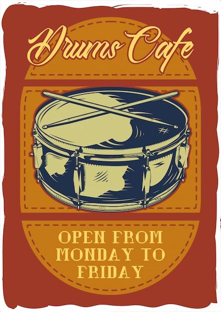 ドラムとスティックのイラストと装飾的なポスターデザイン。レタリング構成。 Premiumベクター