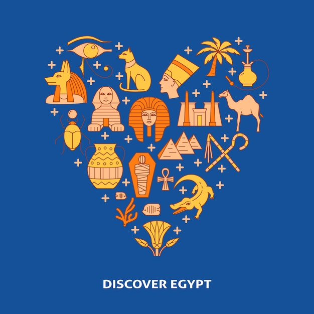 Decorative poster with egypt symbols on heart shape Premium Vector