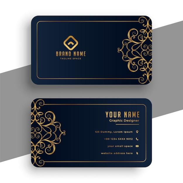 Decorative premium black and gold business card Free Vector