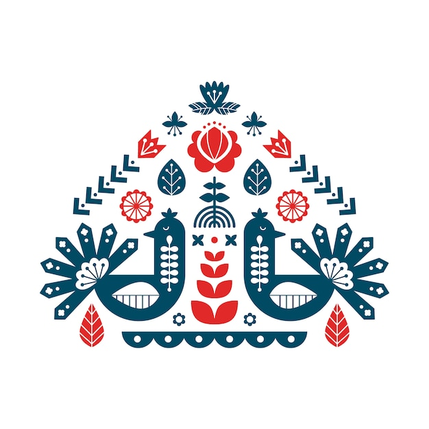 Decorative print with peacock and floral elements. Premium Vector