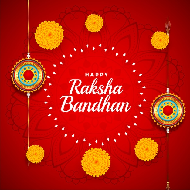 Decorative raksha bandhan background with marigold flower Free Vector
