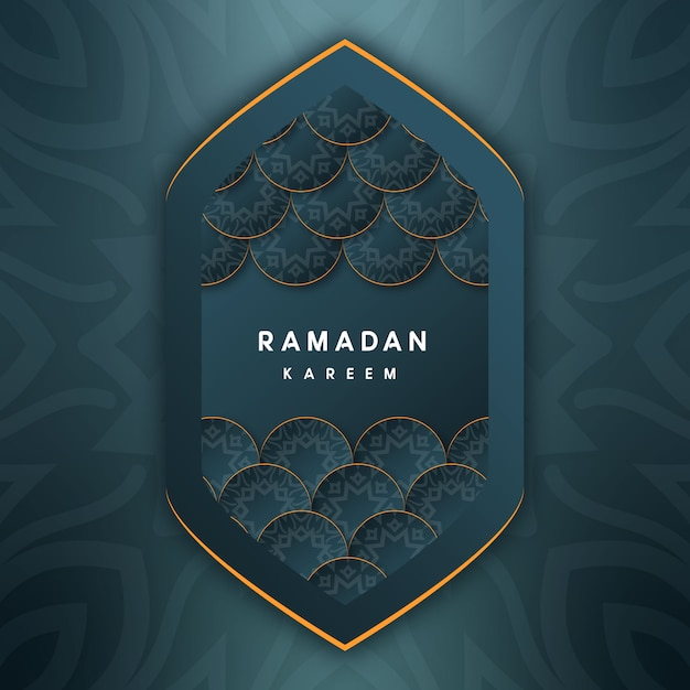 Decorative ramadan kareem greetings with green background Premium Vector