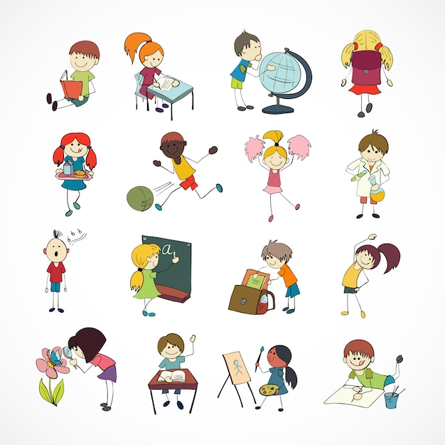 Decorative reading learning singing and playing football school children with backpack doodle sketch vector illustration Free Vector