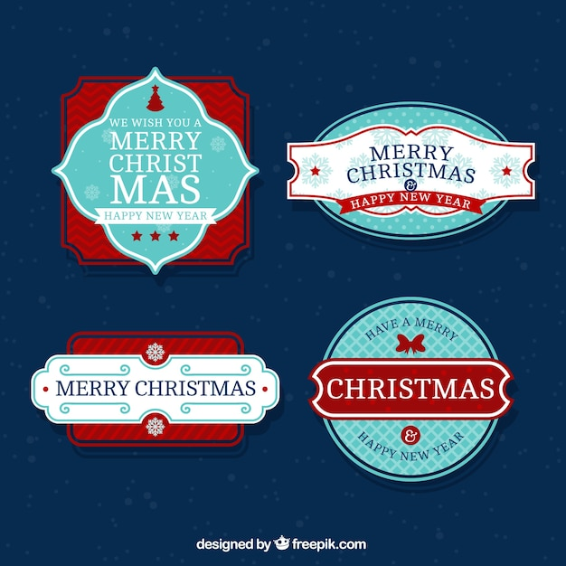 Decorative retro christmas stickers pack and\ happy new year