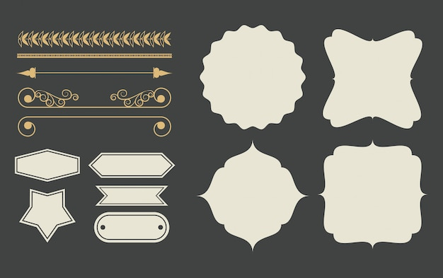 Decorative ribbon emblems cartoon Free Vector