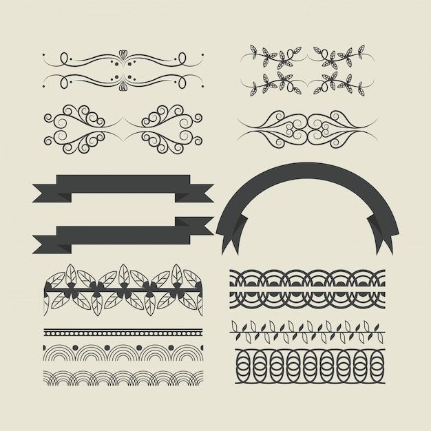 Decorative ribbon emblems cartoon Free Vector