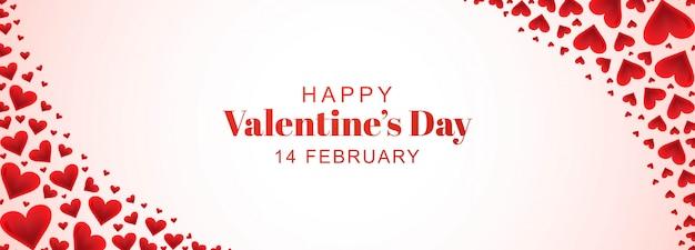 Decorative romantic valentine hearts in banner Free Vector