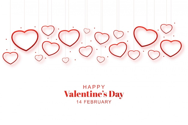 Decorative romantic valentine hearts in card Free Vector