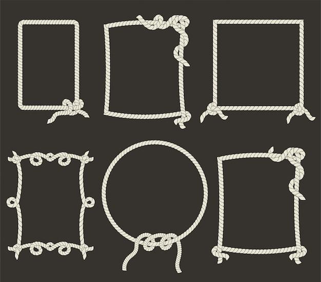 Decorative rope frames on black background Premium Vector