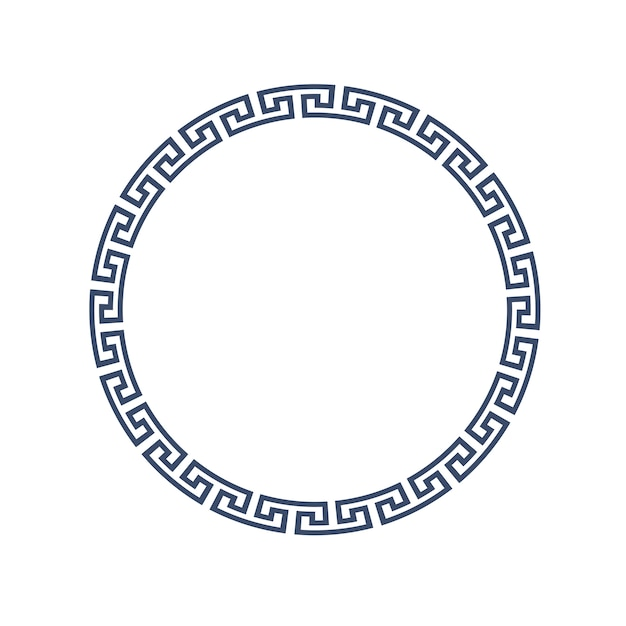 Decorative round frame for design in greek style Premium Vector
