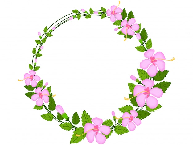Decorative Rounded Frame Made By Beautiful Flowers And Green