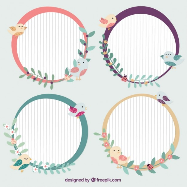 Decorative rounded frames with birds Vector | Premium Download