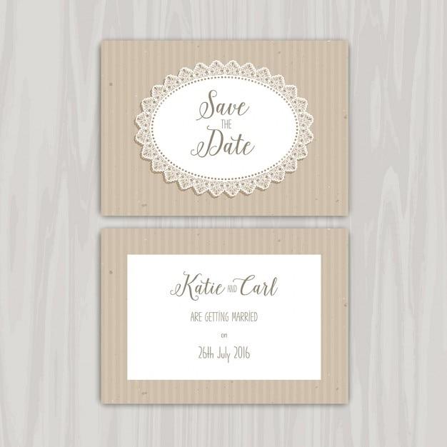 Decorative rustic save the date invitation Free Vector