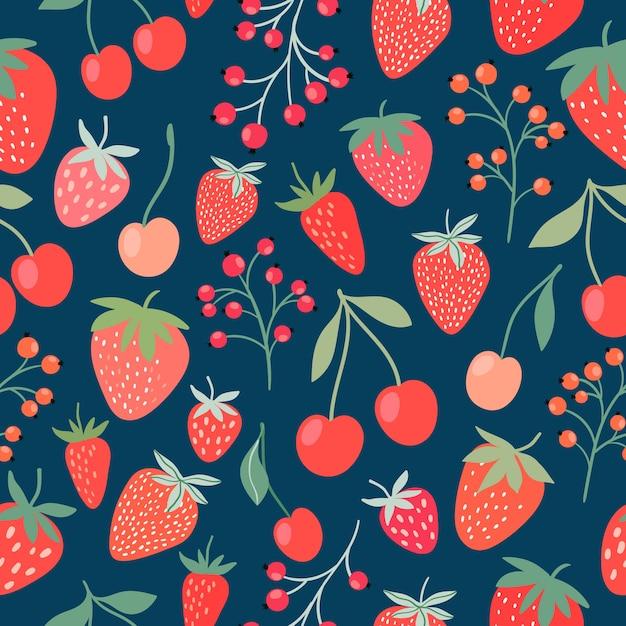 イチゴ、チェリー、スグリと装飾的なシームレスパターン Premiumベクター