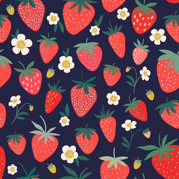 イチゴの花と果物の装飾的なシームレスパターン Premiumベクター