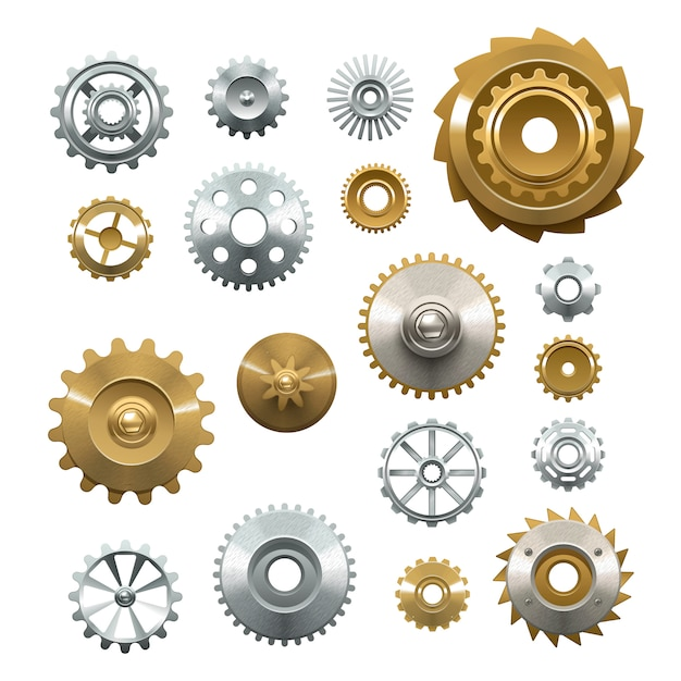 Decorative set of shiny metal  gears on white background in realistic style Free Vector