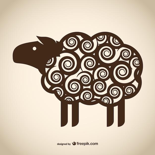 装飾的な羊の描画 無料ベクター