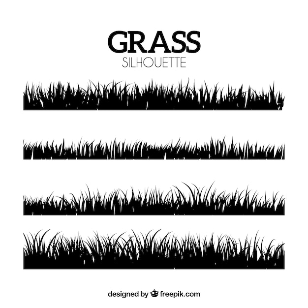 Decorative silhouettes of grass borders Free Vector