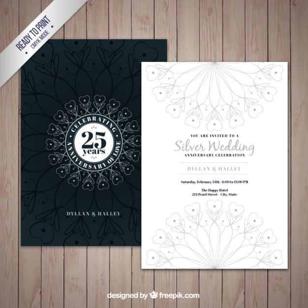 Decorative silver jubilee invitation Vector Premium Download